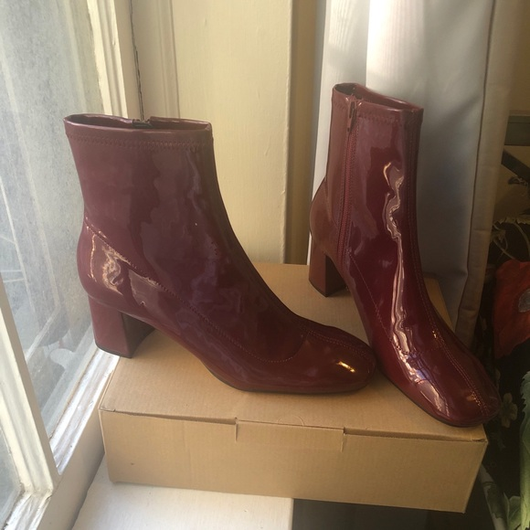 8234929ee20 Zara Shoes | Burgundy Patent Ankle Boots | Poshmark